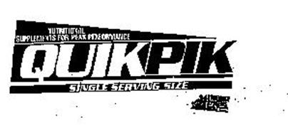 NUTRITIONAL SUPPLEMENTS FOR PEAK PERFORMANCE QUIKPIK SINGLE SERVING SIZE STRENGTH SYSTEMS USA