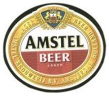 AMSTEL A AMSTEL AMSTEL BEER LAGER LAGER BEER AMSTEL BROUWERIJ B.V. AMSTERDAM HOLLAND