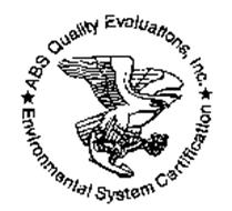 ABS QUALITY EVALUATIONS, INC. ENVIRONMENTAL SYSTEM CERTIFICATION