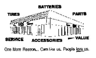 TIRES BATTERIES PARTS SERVICE ACCESSORIES -VALUE ONE MORE REASON... CARS LIKE US. PEOPLE LOVE US.