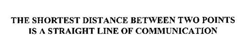 THE SHORTEST DISTANCE BETWEEN TWO POINTS IS A STRAIGHT LINE OF COMMUNICATION