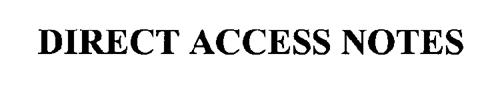 DIRECT ACCESS NOTES