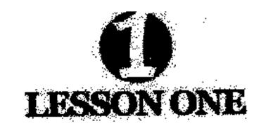 1 LESSON ONE