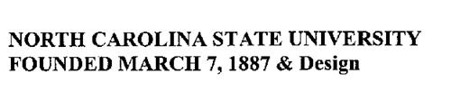 NORTH CAROLINA STATE UNIVERSITY FOUNDED MARCH 7,1887