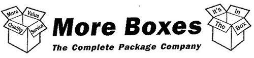 MORE BOXES, THE COMPLETE PACKAGE COMPANY, MORE VALUE, QUALITY, SERVICE, IT'S IN THE BOX