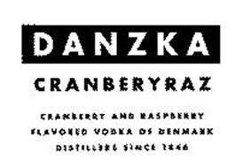 DANZKA CRANBERYRAZ CRANBERRY AND RASPBERRY FLAVORED VODKA OF DENMARK DISTILLERS SINCE 1846