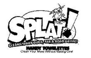SPLAT! CLEANS' AWAY BUGS, TAR & ROAD GRIME! HANDY TOWELETTES CLEAN YOUR MESS WITHOUT MAKING ONE!