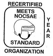 MEETS NOCSAE STANDARD RECERTIFIED YEAR ORGANIZATION