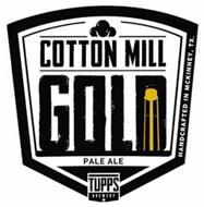 COTTON MILL GOLD PALE ALE TUPPS BREWERY HANDCRAFTED IN MCKINNEY, TX.