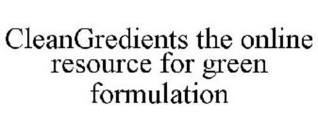 CLEANGREDIENTS THE ONLINE RESOURCE FOR GREEN FORMULATION