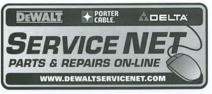 SERVICE NET PARTS & REPAIRS ON-LINE DEWALT PORTER CABLE DELTA WWW.DEWALTSERVICENET.COM