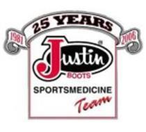 1981 25 YEARS 2006 JUSTIN BOOTS SPORTSMEDICINE TEAM