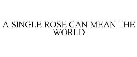 A SINGLE ROSE CAN MEAN THE WORLD