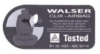 WALSER CLIX-AIRBAG THE CAR SEAT COVER SAVING LIFE TESTED W 1.10/KBA/ABE 90714