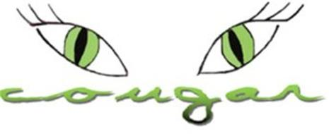 TWO EYES, CAT LIKE IN SHAPE, ARE LOCATED ABOVE THE WORD