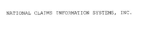 NATIONAL CLAIMS INFORMATION SYSTEMS, INC.