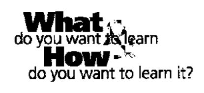 WHAT DO YOU WANT TO LEARN & HOW DO YOU WANT TO LEARN IT?
