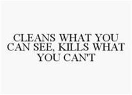 CLEANS WHAT YOU CAN SEE, KILLS WHAT YOU CAN'T