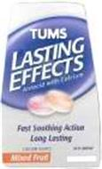 TUMS LASTING EFFECTS ANTACID WITH CALCIUM FAST SOOTHING ACTION LONG LASTING CALCIUM SOURCE MIXED FRUIT ACTI-SOOTHE