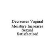 DECREASES VAGINAL MOISTURE INCREASES SEXUAL SATISFACTION!
