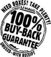 U-HAUL 100% BUY-BACK GUARANTEE NEED BOXES? TAKE PLENTY! UNUSED-WITH RECEIPT