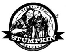 STUMPKIN HEARTLAND BREWERY, A HEARTY BLEND OF SMILING PUMPKIN & FARMER JON'S OATMEAL STOUT