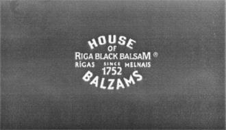 HOUSE OF RIGA BLACK BALSAM RIGAS MELNAISBALZAMS SINCE 1752