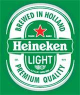 HEINEKEN LIGHT BREWED IN HOLLAND PREMIUM QUALITY EST. 1873 8.5 FL OZ. LAGER BEER