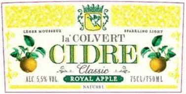 LA'COLVERT CIDRE CLASSIC ROYAL APPLE LEGER MOUSSEUX SPARKLING LIGHT ALC 5,5% VOL. 75CL/750ML NATUREL