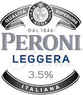 QUALITA SUPERIORE BIRRA PERONI · ROMA ·DAL 1846 PERONI LEGGERA ITALIA 3.5% ITALIANA