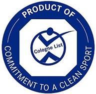 COLOGNE LIST PRODUCT OF COMMITMENT TO ACLEAN SPORT