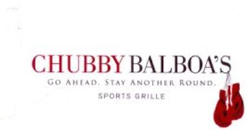 CHUBBY BALBOA'S GO AHEAD. STAY ANOTHER ROUND. SPORTS GRILLE