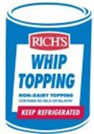 RICH'S WHIP TOPPING NON-DAIRY TOPPING CONTAINS NO MILK OR MILKFAT KEEP REFRIGERATED
