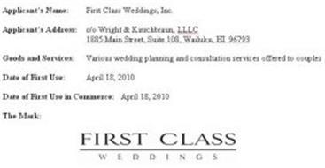 FIRST CLASS WEDDINGS