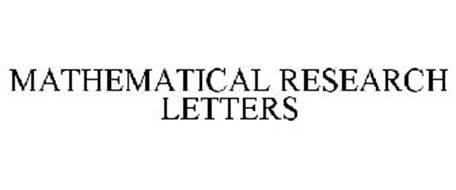 MATHEMATICAL RESEARCH LETTERS