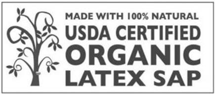 MADE WITH 100% NATURAL USDA CERTIFIED ORGANIC LATEX SAP