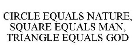 CIRCLE EQUALS NATURE, SQUARE EQUALS MAN, TRIANGLE EQUALS GOD