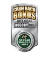 CASH BACK BONUS WHEN YOU HIT 3000000 MILES QUAKER STATE 10 YEAR 300,000 MILE LUBRICATION LIMITED WARRANTY