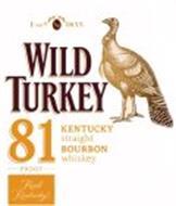 ESTD. AN 1855 WILD TURKEY 81 PROOF REALKENTUCKY KENTUCKY STRAIGHT BOURBON WHISKEY