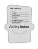 SKILL BUILDING THINKING % LANGUAGE % SOCIAL/EMOTIONAL % GROSS MOTOR % FINE MOTOR % VISUAL MOTOR/PERCEPTION % SENSORY PROCESSING % FOCUS: TOUCH/SIGHT/SOUND ABILITY INDEX