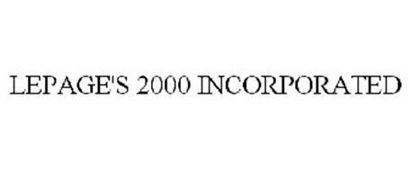 LEPAGE'S 2000 INCORPORATED