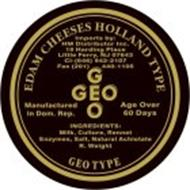 GEO GEO EDAM CHEESES HOLLAND TYPE IMPORTS BY: HM DISTRIBUTOR INC. 19 HARDING PLACE LITTLE FERRY, NJ 07643 CL - (646) 942-2107 FAX (201) 440-1105 MANUFACTURED IN DOM. REP. AGED OVER 60 DAYS INGREDIENTS: MILK, CULTURE, RENNET, ENZYMES, SALT, NATURAL ACHIOTE.
