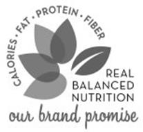 CALORIES · FAT · PROTEIN · FIBER REAL BALANCED NUTRITION OUR BRAND PROMISE