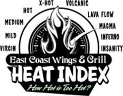 VIRGIN MILD MEDIUM HOT X-HOT VOLCANIC LAVA FLOW MAGMA INFERNO INSANITY EAST COAST WINGS & GRILL HEAT INDEX HOW HOT IS TOO HOT?