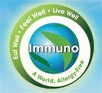 IMMUNO EAT WELL · FEEL WELL · LIVE WELL A WORLD, ALLERGY-FREE