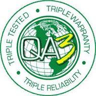 QA3 TRIPLE TESTED · TRIPLE WARRANTY · TRIPLE RELIABILITY