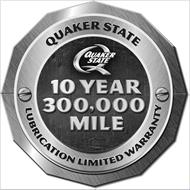 QUAKER STATE Q QUAKER STATE 10 YEAR 300,000 MILE LUBRICATION LIMITED WARRANTY