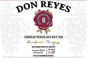 DON REYES 100% DOMINICAN REPUBLIC RUM DR DOMINICAN PREMIUM AGED WHITE RUM HECTOR REYES NONE GENUINE WITHOUT MY SIGNATURE PREMIUM RUM 40% BY VOL 2 AGED TWO YEARS DISTILLED IN DOMINICAN REPUBLIC