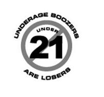 UNDERAGE BOOZERS ARE LOSERS UNDER 21