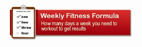WORKOUTS PER WEEK ONE TWO THREE FOUR WEEKLY FITNESS FORMULA HOW MANY DAYS A WEEK YOU NEED TO WORKOUT TO GET RESULTS